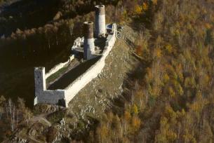 Zamek Królewski w Chęcinach z lotu ptaka